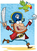 Pirate Holding Up A Sword And Hook With Parrot — Stock Photo