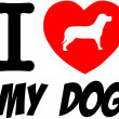 I Love My Dog With Red Heart — Stock Photo