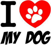 I Love My Dog Text With Red Heart — Stock Photo