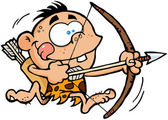 Boy Running With Bow And Arrow — Stock Photo