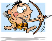Cave Boy Running With Bow And Arrow — Stock Photo
