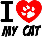 I Love My Cat Red Heart With Text — Stockfoto