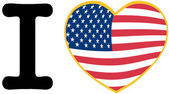 I Love America With USA Flag Heart — Stock Photo