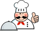 Winked Chef Logo Showing Thumbs Up — Stock Photo