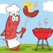 Happy Sausage Chef Cook At Barbecue — Stock Photo