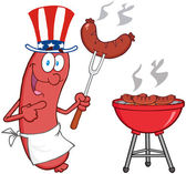 Sausage With American Patriotic Hat — Stock Photo