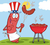 Happy Sausage With Patriotic Hat — Stock Photo