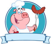 Pig Chef Holding A Sausage — Stock Photo