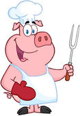 Happy Pig Chef Holding A Fork — Stock Photo