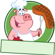 Happy Pig Chef Holding A Steak  — Photo