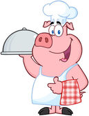 Happy Pig Chef Holding A Platter — Stock Photo