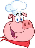 Happy Pig Chef Head — Stock Photo