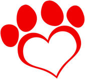 Red Love Paw Print — Stock Photo