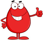 Smiling Red Easter Egg Character — Stock Photo