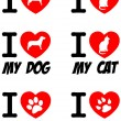 I Love Dog and Cat Signs.Collection — Stock Photo