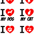 I Love Dog and Cat Signs.Collection - Stock Photo