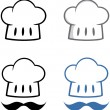 chapeau de chef avec mustache.collection — Photo