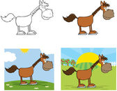 Horse Cartoon Character.Collection — Stock Photo