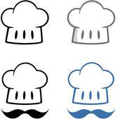 Szef kapelusz z mustache.collection — Zdjęcie stockowe