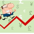 Business Man Running Upwards On A Statistics Arrow — Stockfoto