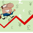 African American Business Man Running Upwards On A Statistics Arrow — Foto de Stock