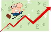 Business Man Running Upwards On A Statistics Arrow — Stock Photo