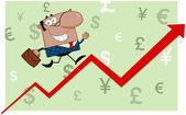 African American Business Man Running Upwards On A Statistics Arrow — Stock Photo