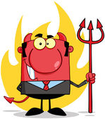 Smiling Devil With A Trident — Stock Photo