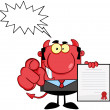 Devil Holds Up A Contract And Hand Pointing Finger With Speech Bubble — Stock Photo