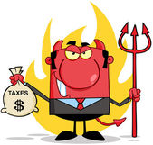 Smiling Devil Holding Taxes Bag — Stock Photo