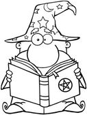 Outlined Wizard Holding A Book — Stock Photo