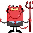 Angry Devil With A Trident — Stock Photo