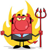 Angry Devil With A Trident In Front Of Flames — Stock Photo