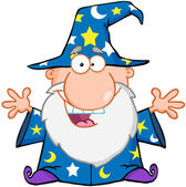 Happy Wizard With Open Arms — Stock Photo