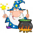 Funny Wizard Waving With Magic Wand And Preparing A Potion - Stock Photo