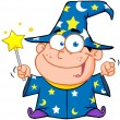 Wizard Boy Waving With Magic Wand — Stockfoto
