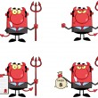 Devil Boss Cartoon Characters. Collection 1 — Stock Photo