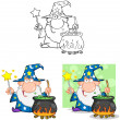 Wizard Cartoon Characters.Collection 9 — Stock Photo