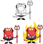 Devil Boss Cartoon Characters. Collection 3 — Stock Photo