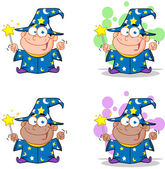 Wizard Boy Waving With Magic Wand. Collection — Stock Photo