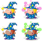Wizard Girl Waving With Magic Wand.Collection — 图库照片