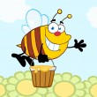 Bee Flying With A Honey Bucket And Waving For Greeting Over Flowers — Stock Photo