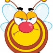 Stock Photo: Angry Bee Cartoon Mascot Character