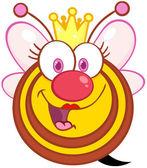 Mutlu kraliçe arı çizgi film maskot karakteri — Stok fotoğraf
