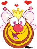 女王蜂卡通吉祥物形象与心 — 图库照片