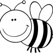 Stock Photo: Outlined Bee Cartoon Mascot Character
