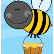 Bee Cartoon Character Flying With A Honey Bucket — Stock Photo