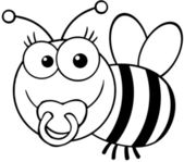 Outlined Baby Bee Cartoon Character — Stock Photo