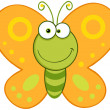 Smiling Butterfly Mascot Character - Stock Photo