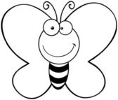 Outlined Smiling Butterfly — Stock Photo